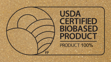 United States Department of Agriculture Certified Biobased Product seal over a close-up picture of MIRUM.